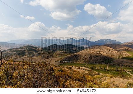 Russian. Crimea. Sudak. Mountain landscape with rich vegetation. 14.09.2016