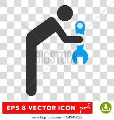 Serviceman EPS vector pictograph. Illustration style is flat iconic bicolor blue and gray symbol on white background.