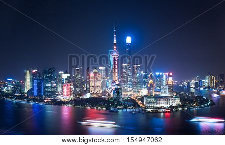 Shanghai pudong skyscrapers at night, in the evening, China
