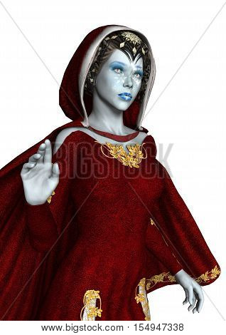 3D Rendering Snow Maiden On White