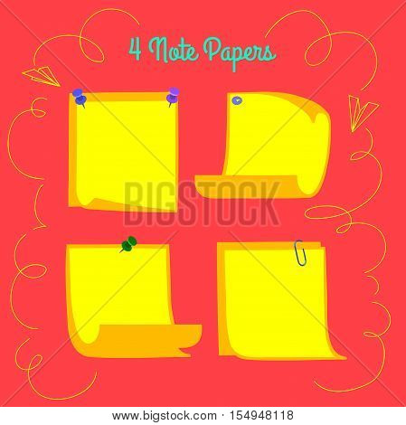 Four pinned yellow note papers in cartoon style, memo with curled corners, isolated note paper on red background, EPS 8