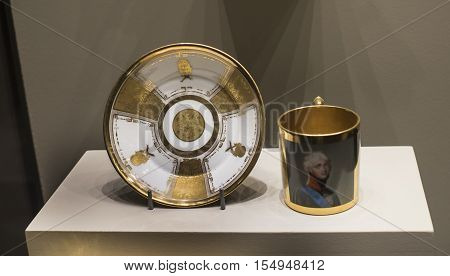 Moscow Russia -September 082016: Cup and saucer. Museum of the Patriotic War of 1812