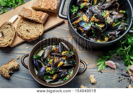 Mussels Served With Bread In A Country Way