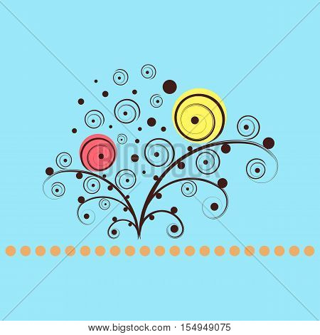 Shining flowers circle vector background. Abstract floral concept
