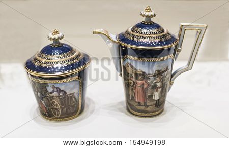 Moscow Russia -September 082016: Sugar with the image of German colonists. Milkman depicting sellers oil and fruits vegetables. Museum of the Patriotic War of 1812