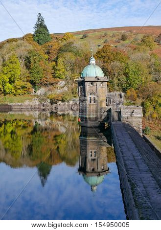 Pen Y Garreg reservoir dam autumn tree colours reflections.