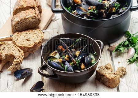 Freshly Cooked Mussels Was Served At Dinner