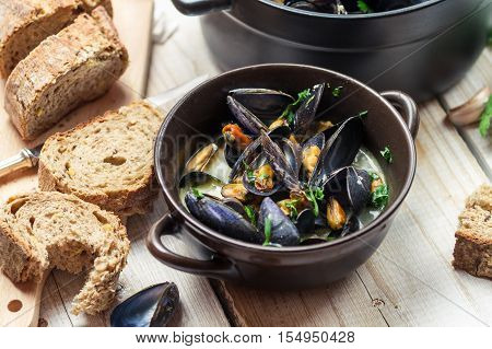 Closeup Of Freshly Cooked Mussels At Dinner