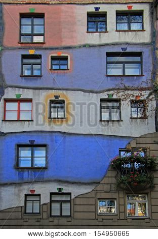 The View Of Hundertwasser House In Vienna