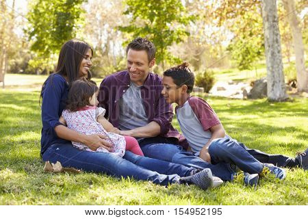 Asian Caucasian mixed race family sitting on grass in a park