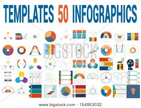 50 Vector Templates for Infographics pie chart ring chart area chart timeline list diagram with text areas for three positions.
