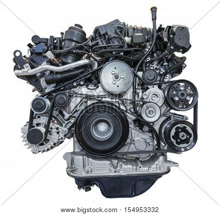 Modern heavy duty turbo diesel engine isolated on white