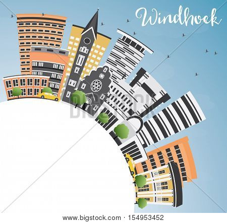 Windhoek Skyline with Color Buildings, Blue Sky and Copy Space. Vector Illustration. Business Travel and Tourism Concept with Modern Architecture. Image for Presentation Banner Placard and Web Site.