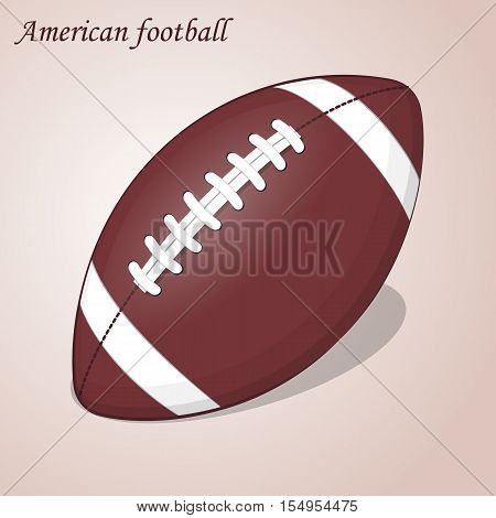 American Football ball isolated on a pink background. Simple cartoon style. Vector Illustration. Rugby sport.