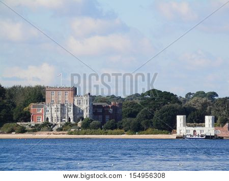View of coastline from Sandbank Ferry Poole Dorset