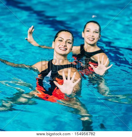 Synchronized Swimming Performance, toned image, square image