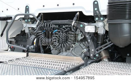 The Rear of a Powerful Articulated Lorry Truck Unit.