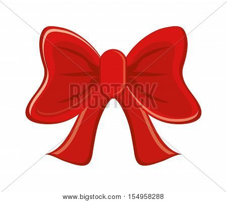Red bowtie icon. Decoration gift and card theme. Isolated design. Vector illustration