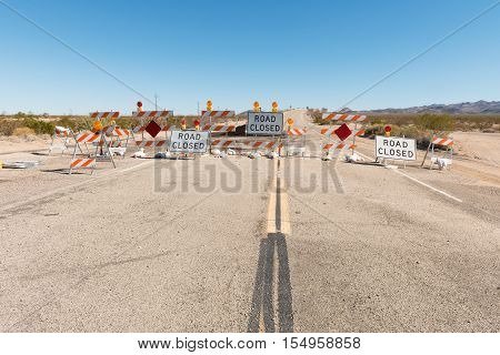 Road closure on Route 66 near Essex California