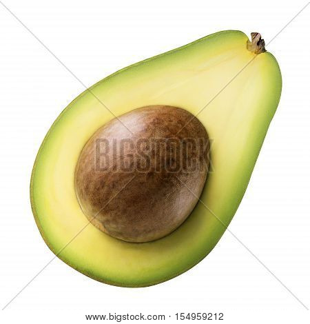 Green avocado isolated on white background with clipping path