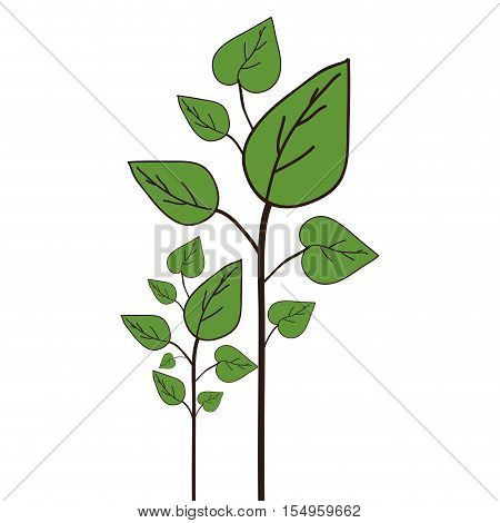 green plant with leaves icon over white background. vector illustraion