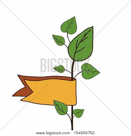 green plant with leaves and yellow ribbon over white background. vector illustraion