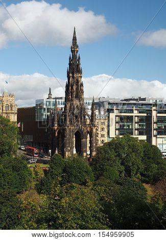 The Scott Monument in Princes Street Gardens Edinburgh Scotland with Sir Walter Scott statue inside poster
