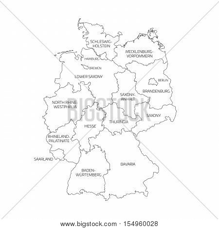 Simple Map Of Germany.Map Germany Devided Vector Photo Free Trial Bigstock