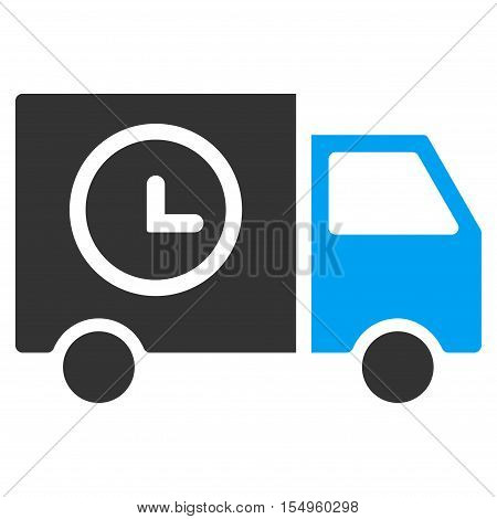 Shipment Schedule Van vector icon. Illustration style is a flat iconic bicolor blue and gray symbol on white background.