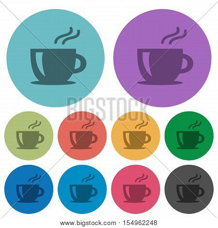 Cappuccino flat icons on color round background.