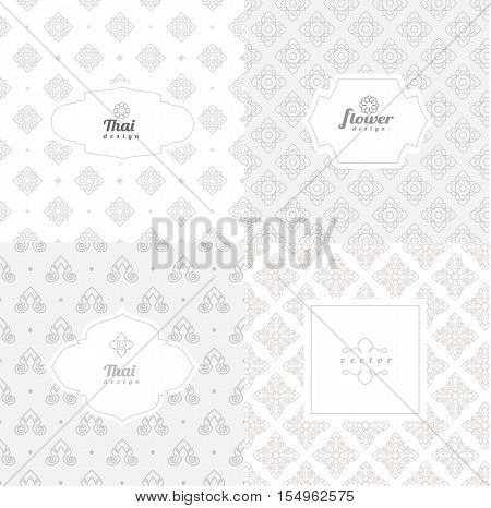 Vector mono line graphic design templates - labels and badges on decorative backgrounds style thai pattern.vector illustration