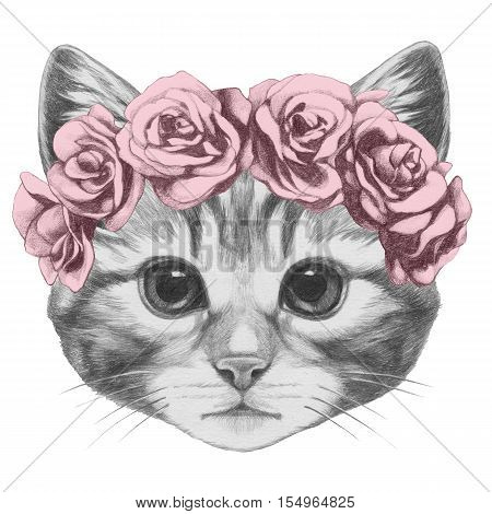 Original drawing of Cat with floral head wreath. Isolated on white background