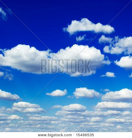 blue sky and beautiful fluffy white clouds
