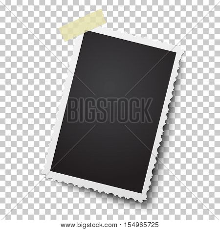 Realistic vector photo frame on sticky tape. Template photo design.
