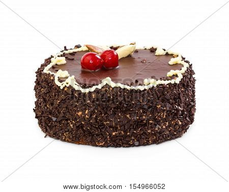 Whole chocolate cake with cherry isolated on white background