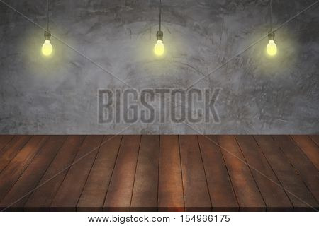 wood shelves and lamp light on vintage concrete cement background Shelves for display products and sale goods.