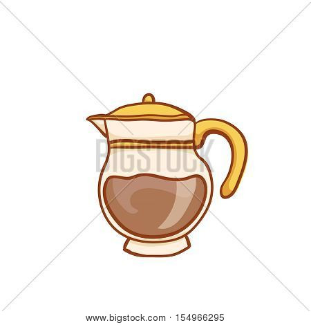 Coffee glass pot sketchy clip art, isolated on white. Vector design element. Sketch for flyer, banner, ad, package. Hand drawn cup of hot Coffee with halftone icon
