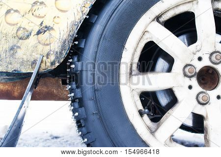 Car wheels with spikes for racing on ice.