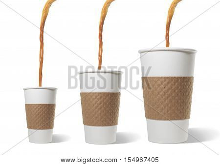 Still Life of Coffee Pouring into Three Sizes of Paper Takeout Cups on White Background