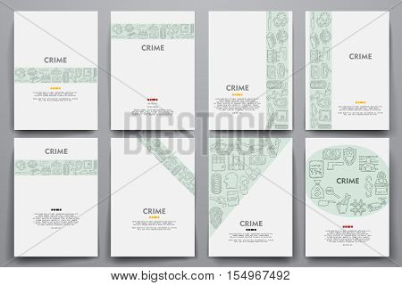 Corporate identity vector templates set with doodles crime theme. Target marketing concept