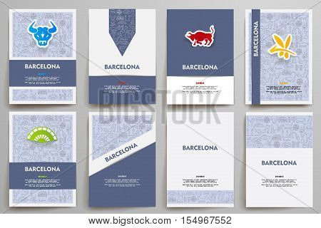 Corporate identity vector templates set with doodles Barcelona theme. Target marketing concept