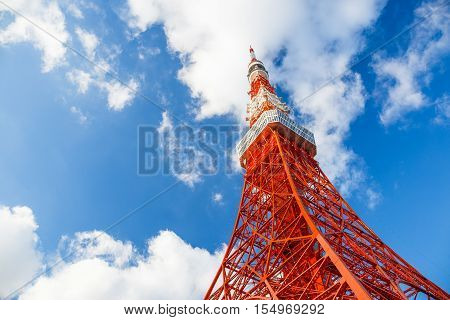Tokyo tower with blue sky and cloud