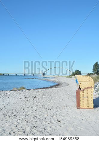 View to Fehmarnsund Bridge from Fehmarn at baltic Sea, Schleswig-Holstein, Germany