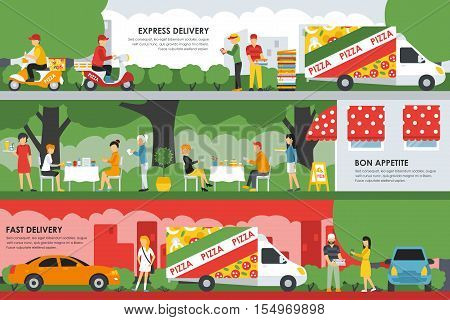 Fast, Express Delivery and Bon Appetite flat concept web vector illustration. People, Deliveryman, Car, Scooter. Pizzeria Bistro interior presentation.