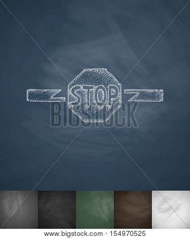 STOP icon. Hand drawn vector illustration. Chalkboard Design