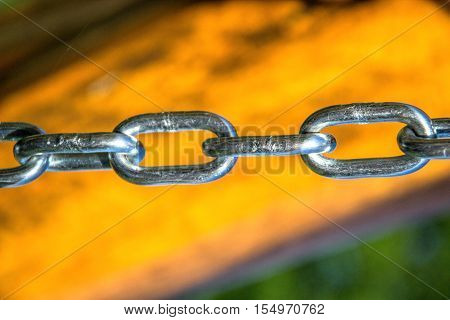 Close Up Of Silver Steel Chain Link