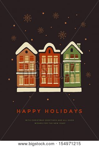 Christmas card. Houses in the snow. Hand drawn Christmas and New Year vector elements. This illustration can be used as a greeting card, poster or print.