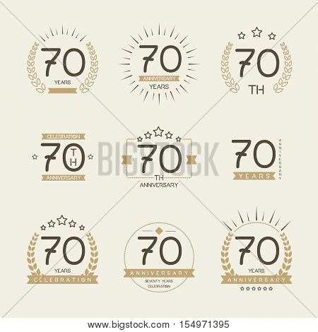 Seventy years anniversary celebration logotype. 70th anniversary logo collection.