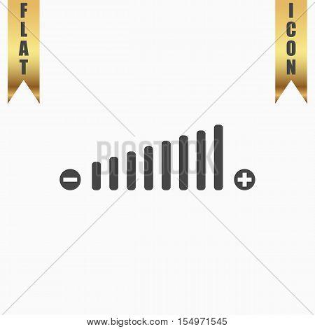 Volume adjustment. Flat Icon. Vector illustration grey symbol on white background with gold ribbon