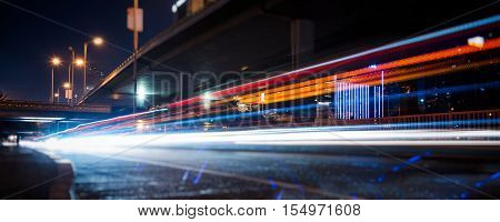 traffic light trails on urban street in city of China.